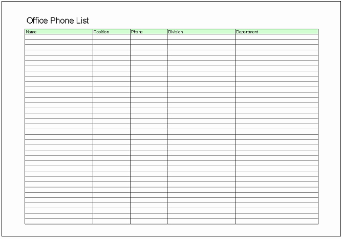 Employee Phone List Template Free New List Excel Templates Free Download