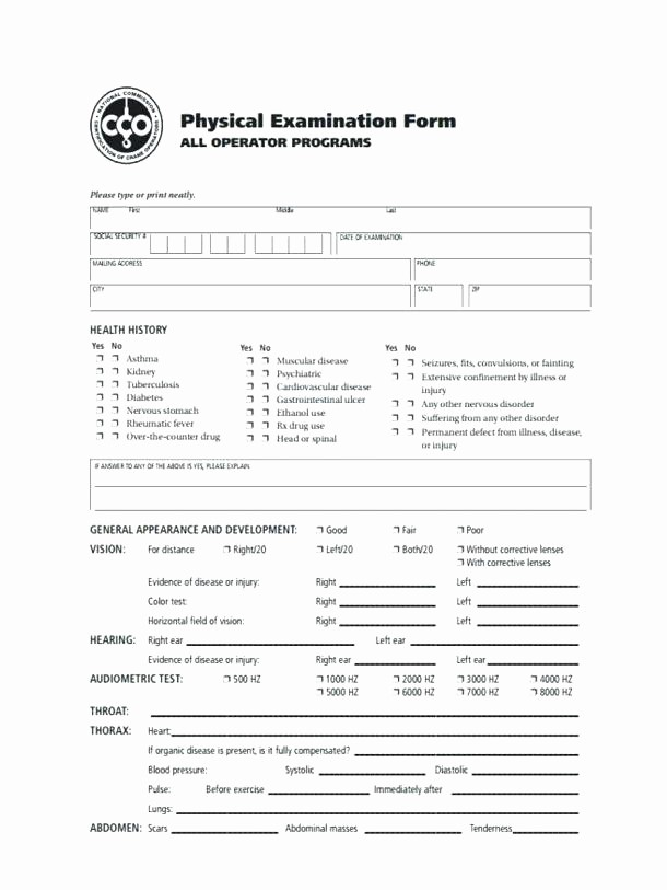 Employee Physical Exam form Template Best Of Physical Exam Template Medicine form Design Ideas