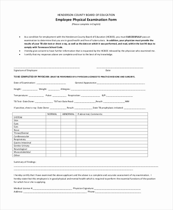 Employee Physical Exam form Template Inspirational Sample Physical Examination form 11 Free Documents In
