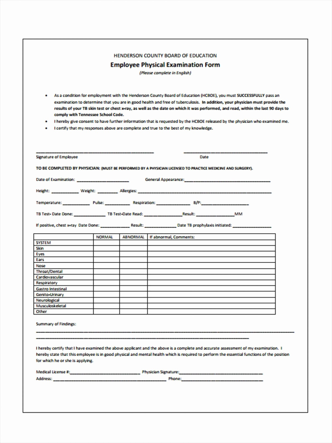 50 Employee Physical Exam Form Template Ufreeonline Template