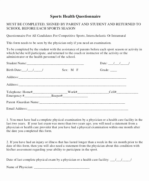 Employee Physical Exam form Template Unique Medical Physical Exam Template – Voipersracing