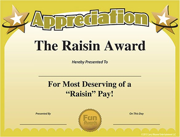 Employee Recognition Certificates Templates Free Fresh 11 Funny Certificate Templates Free Word Pdf Documents