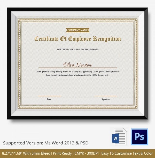 Employee Recognition Certificates Templates Free Fresh 14 Certificate Of Recognition Templates Free Sample