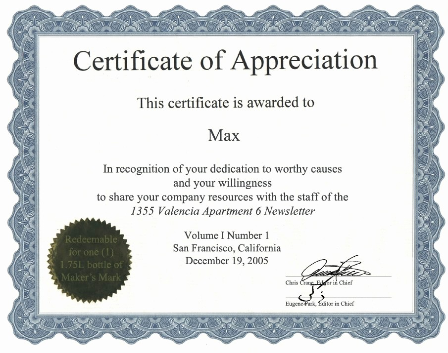 Employee Recognition Certificates Templates Free New Appreciation Certificate