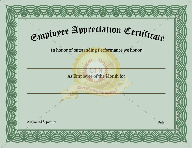 Employee Recognition Certificates Templates Free New Certificate Appreciation Templates Army Templates