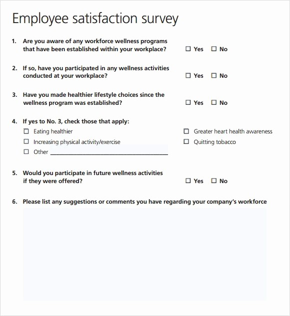 Employee Satisfaction Survey Template Word Awesome 6 Sample Survey Templates Excel Pdf formats
