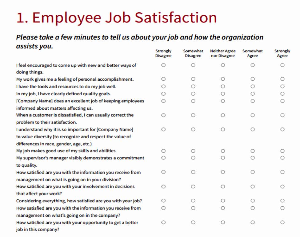 Employee Satisfaction Survey Template Word Awesome Employee Satisfaction Survey