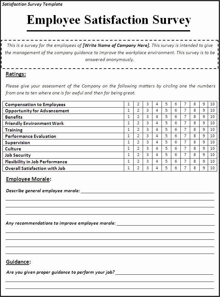 Employee Satisfaction Survey Template Word Fresh Business Templates