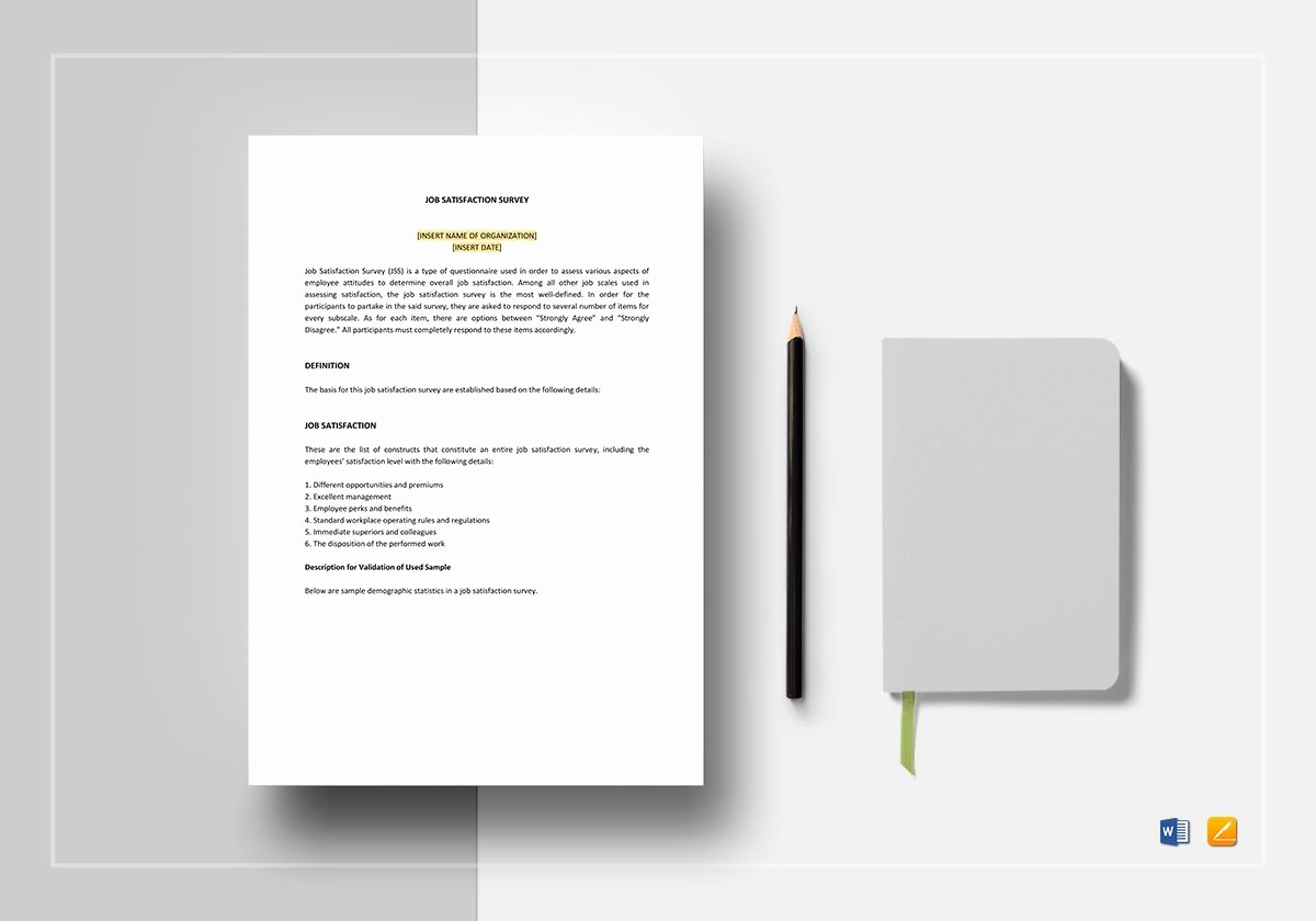 Employee Satisfaction Survey Template Word Lovely Job Satisfaction Survey Template In Word Apple Pages