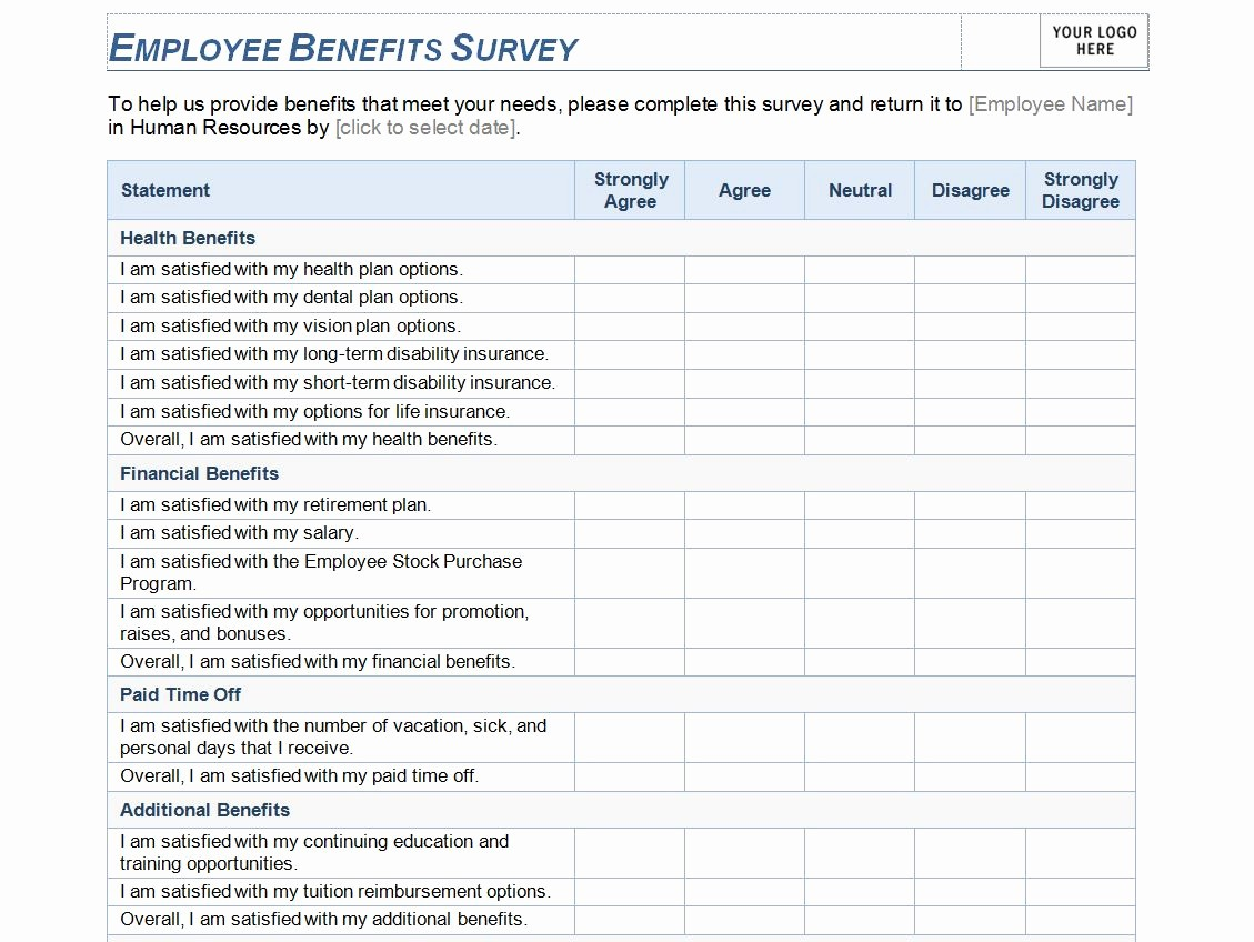 Employee Satisfaction Survey Template Word Luxury Employee Benefits Survey Template