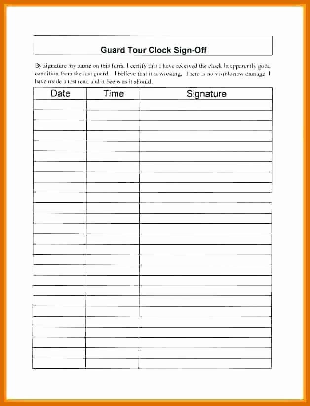Employee Sign In Sheet Excel Awesome 5 6 Sign Off Sheet Template