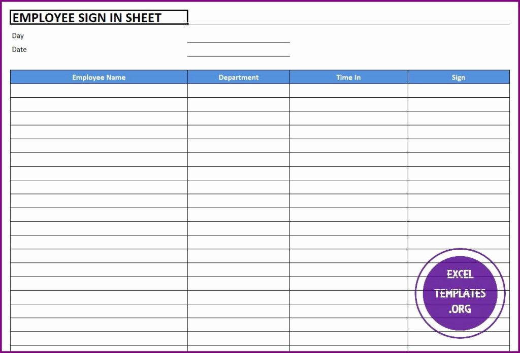 Employee Sign In Sheet Excel Awesome Employee Sign In Sheet Template Excel Templates