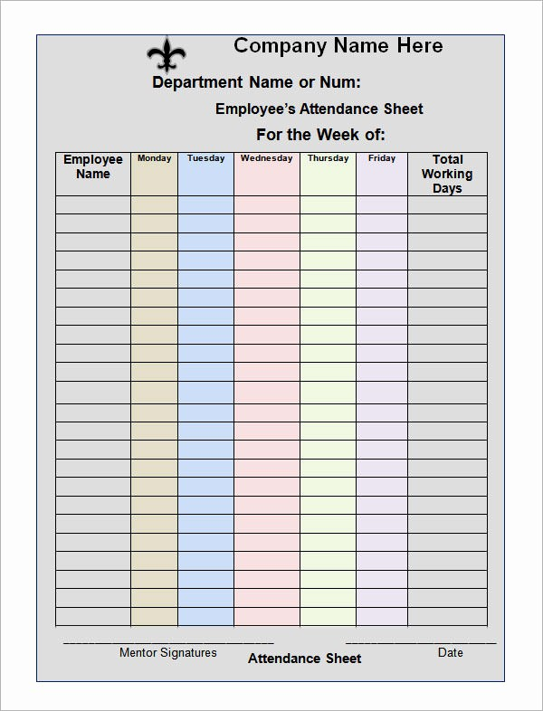 Employee Sign In Sheet Excel Fresh 16 attendance Sheet Templates – Pdf Word Excel