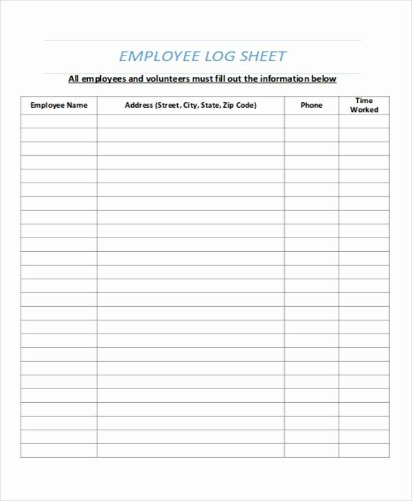Employee Sign In Sheet Pdf Beautiful 9 Log Sheet Templates Free Sample Example format