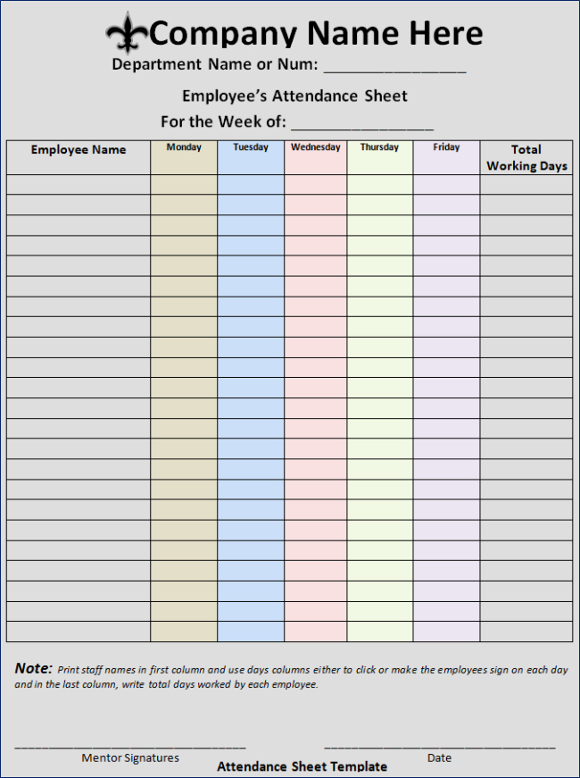Employee Sign In Sheet Weekly Beautiful 46 Best attendance Sheet Template Examples for Classroom