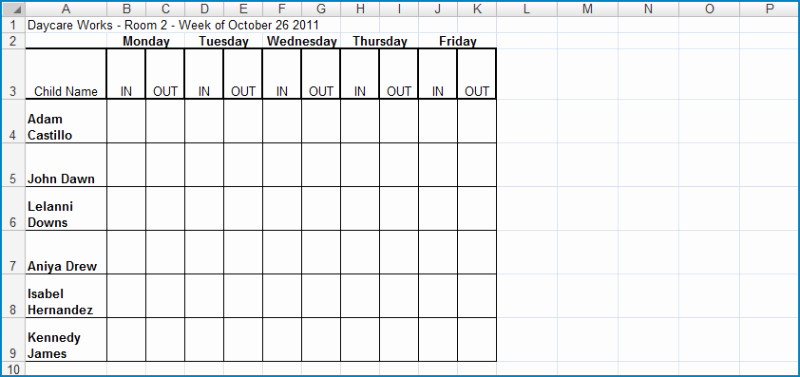 Employee Sign In Sheet Weekly Fresh Weekly Center In Out Excel
