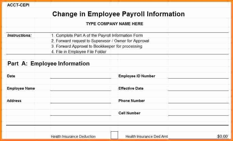 Employee Status Change Template Excel Awesome 8 Employee Payroll form