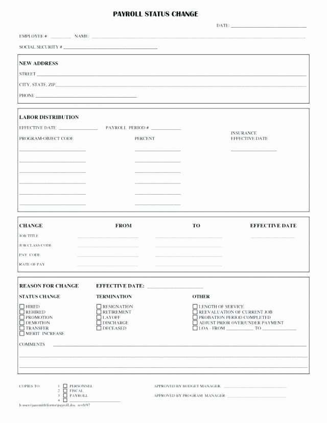 Employee Status Change Template Excel Best Of Personnel Change form Template – Buildingcontractor
