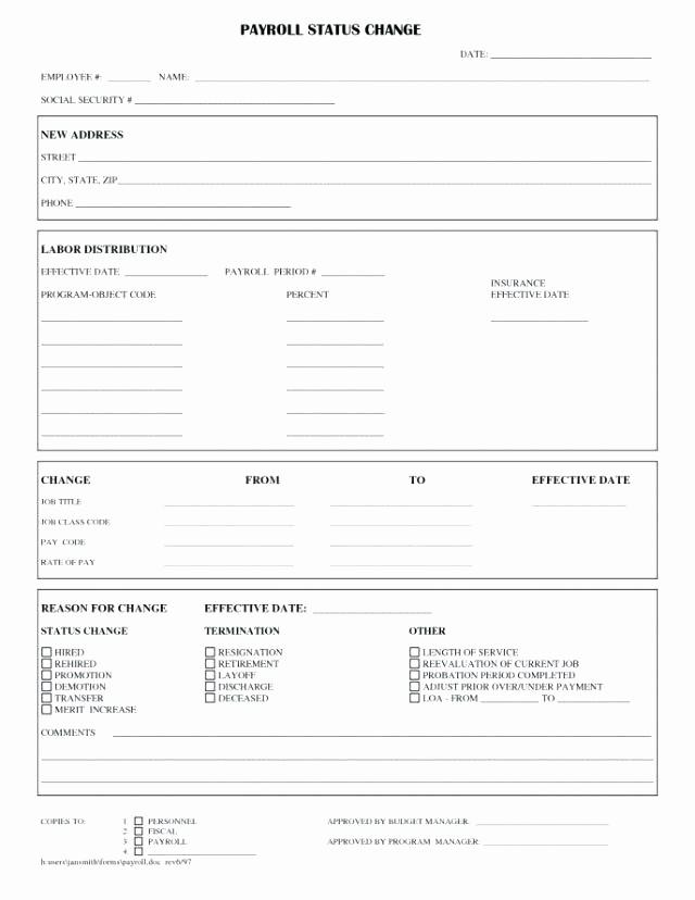 Employee Status Change Template Excel Best Of Personnel Change form Template – Buildingcontractor