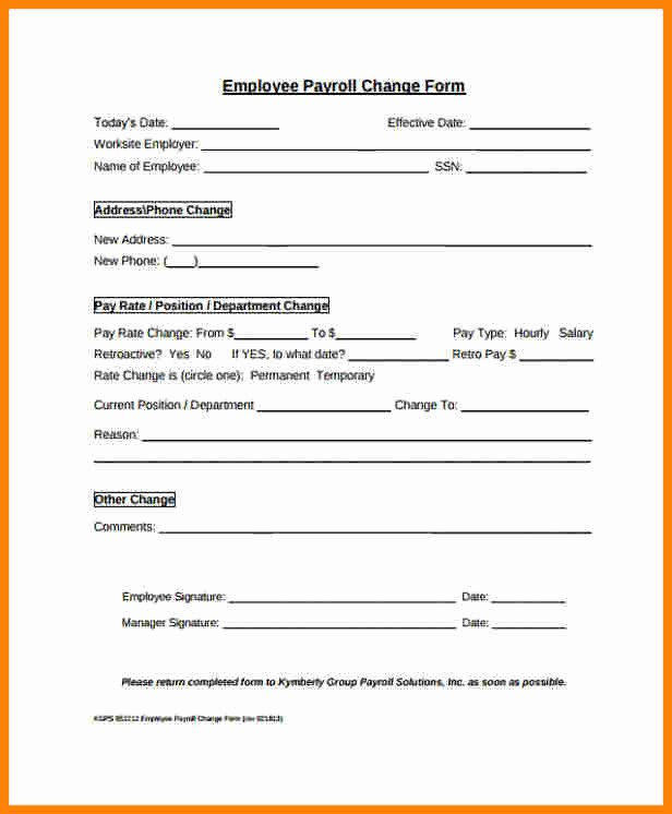 Employee Status Change Template Excel Elegant 8 Payroll Change form Template