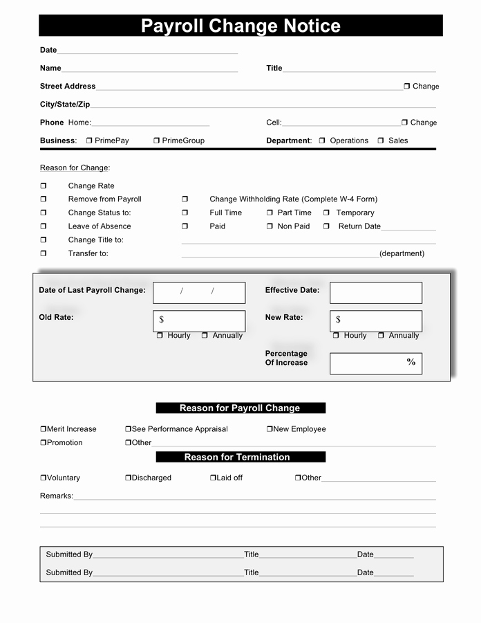 Employee Status Change Template Excel Elegant Payroll Change form Template Free April Onthemarch
