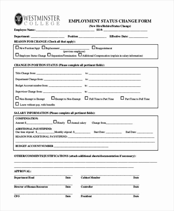 Employee Status Change Template Excel Fresh Employee Status Change form Best Employee 2018