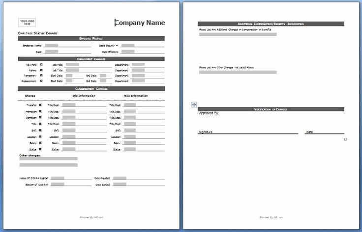 Employee Status Change Template Excel Fresh Employee Status Change form My Board