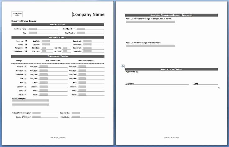 Employee Status Change Template Excel Fresh Employee Status Change form My Board
