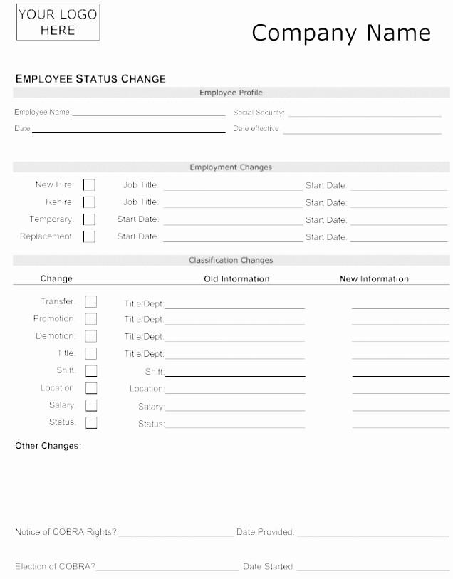 Employee Status Change Template Excel Luxury 9 Salary Change form Template Uutku