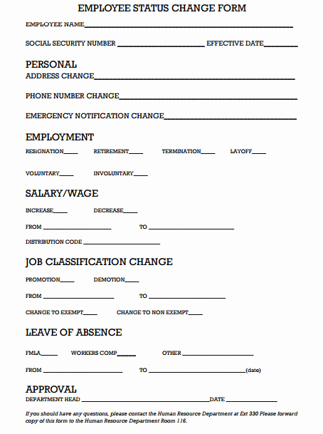 Employee Status Change Template Excel New 6 Employee Status Change forms Word Excel Templates