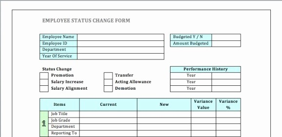 Employee Status Change Template Excel New Employee Status Change forms Word Excel Samples