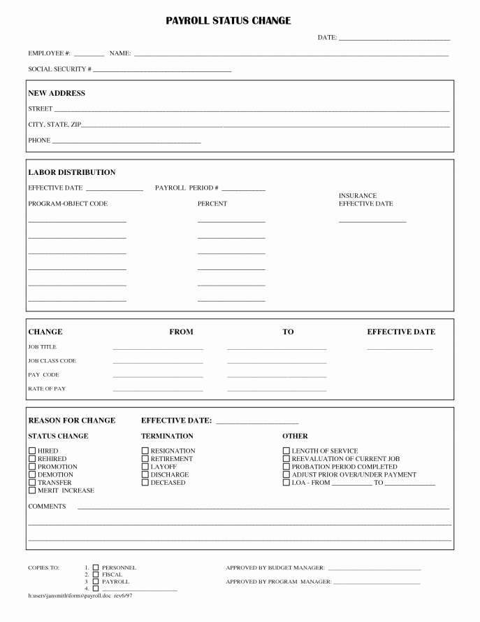 Employee Status Change Template Excel Unique Employee Status Change forms Word Excel Samples