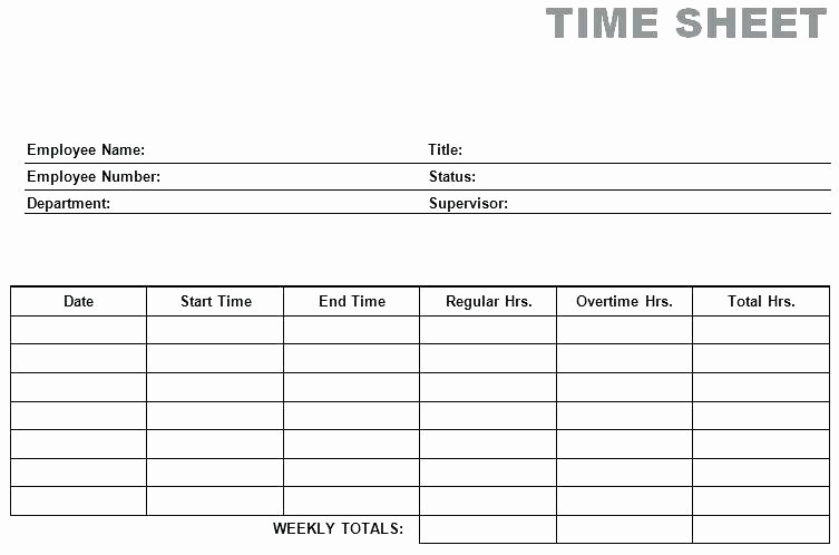 Employee Time Cards Template Free Awesome Printable Employee Timesheet Template Simple Blank Weekly
