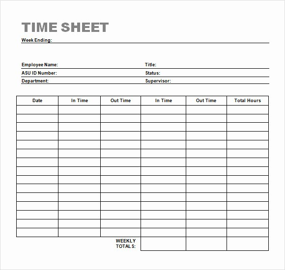Employee Time Cards Template Free Beautiful 24 Sample Time Sheets