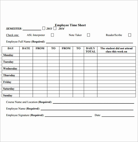 Employee Time Cards Template Free Elegant Employee Timesheet Template 8 Free Download for Pdf