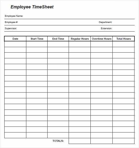 Employee Time Cards Template Free Lovely 10 Blank Timesheet Templates – Free Sample Example