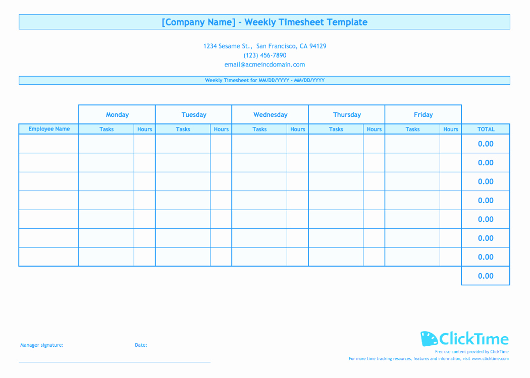 Employee Time Cards Template Free Lovely Weekly Timesheet Template for Multiple Employees