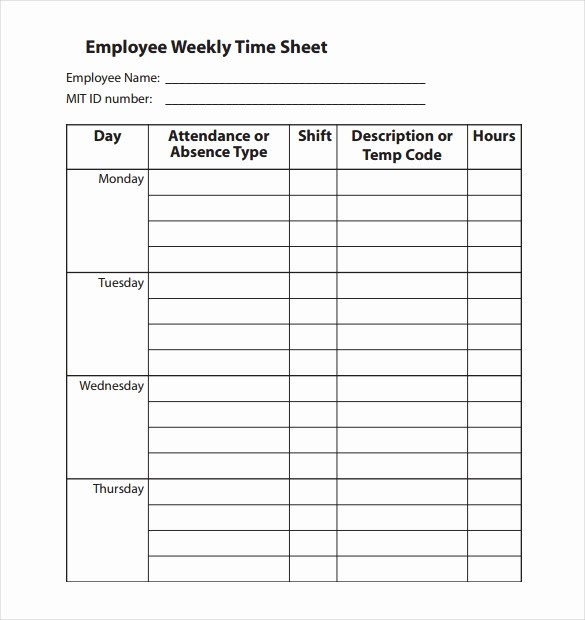 Employee Time Cards Template Free New 22 Employee Timesheet Templates – Free Sample Example