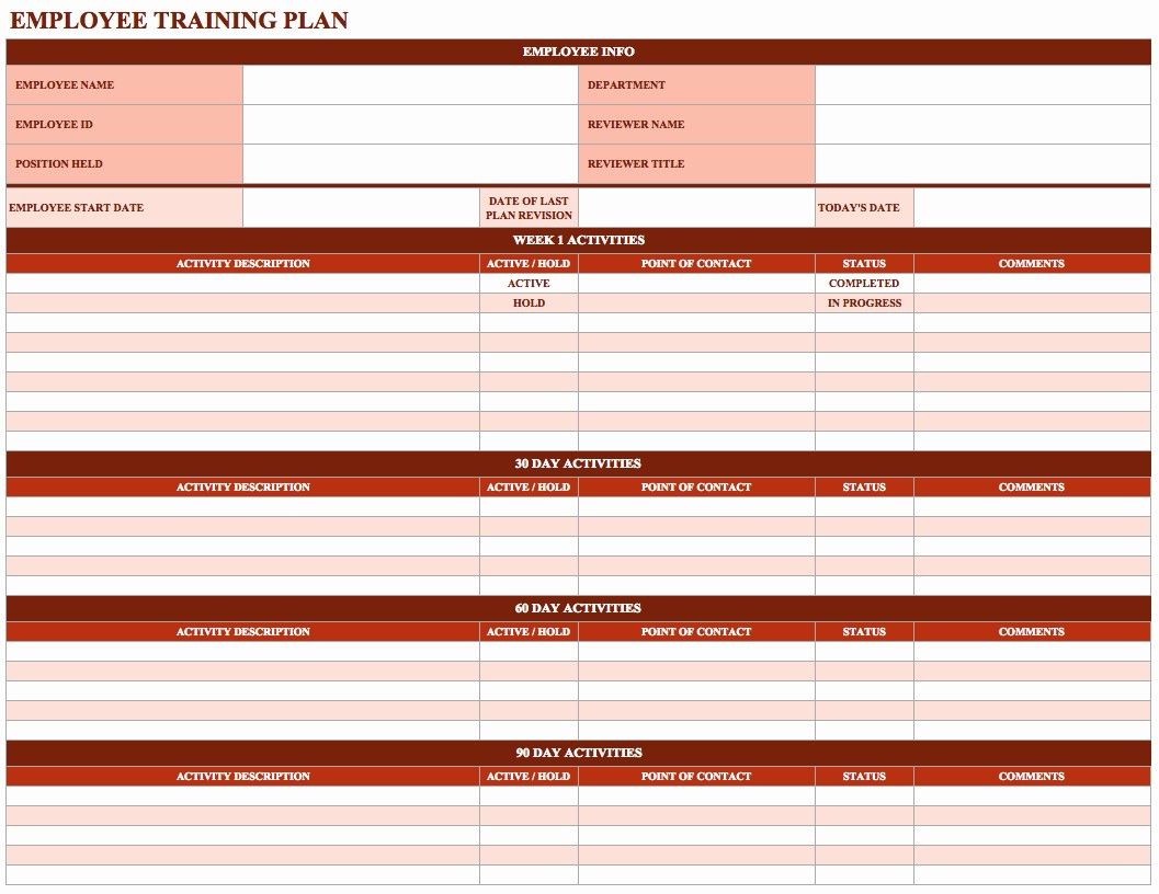 Employee Training Plan Template Excel Lovely Employee Training Schedule Template In Ms Excel Excel