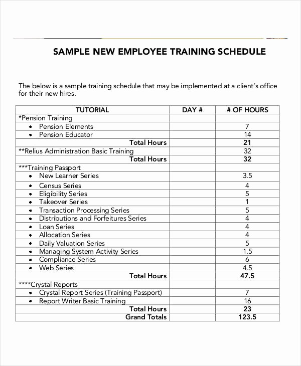 Employee Training Plan Template Excel Luxury Employee Training Schedule Template 14 Free Word Pdf