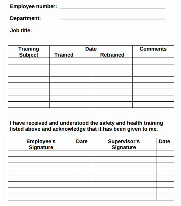 Employee Training Plan Template Excel New Employee Training Record Template Excel
