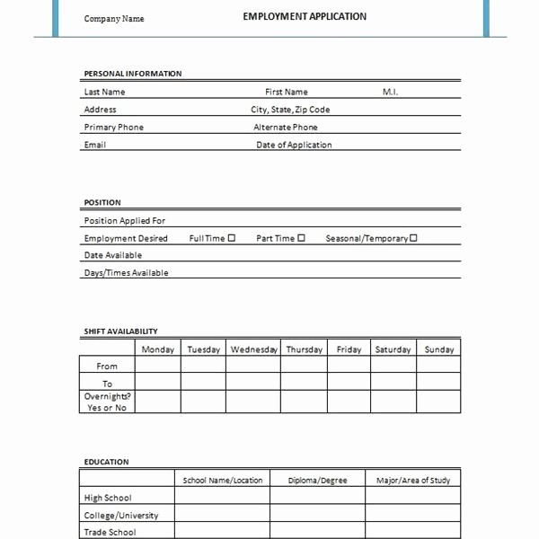 Employment Application forms Free Download Elegant Free Printable Job Application form Template form Generic