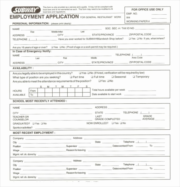 Employment Application forms Free Download Lovely 10 Restaurant Application Templates – Free Sample