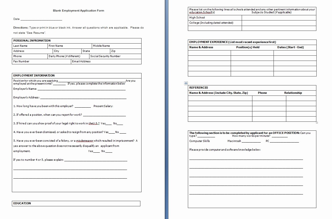 Employment Application forms Free Download Luxury Application Free Template Blank Job Application form