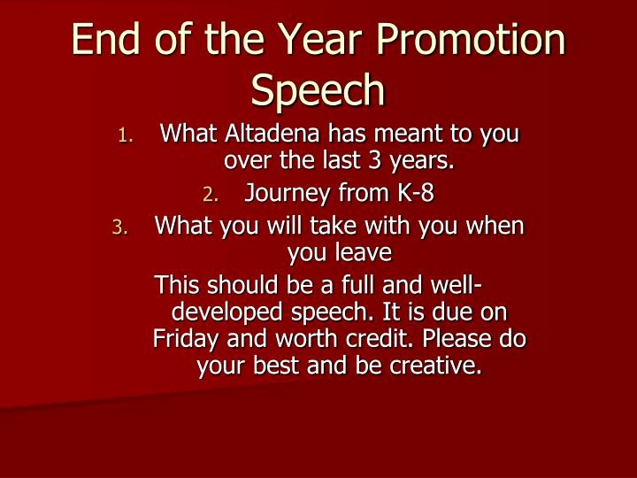 End Of the Year Slideshow Fresh Ppt End Of the Year Promotion Speech Powerpoint