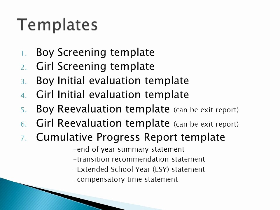 End Of Year Reports Templates Awesome New Mexico Documentation for therapy Evaluations Ppt