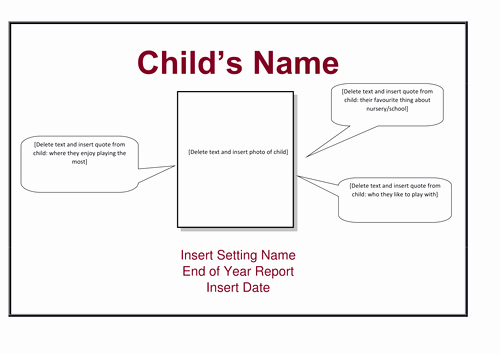 End Of Year Reports Templates Elegant End Of Year Nursery Report Birth to 4 Years by