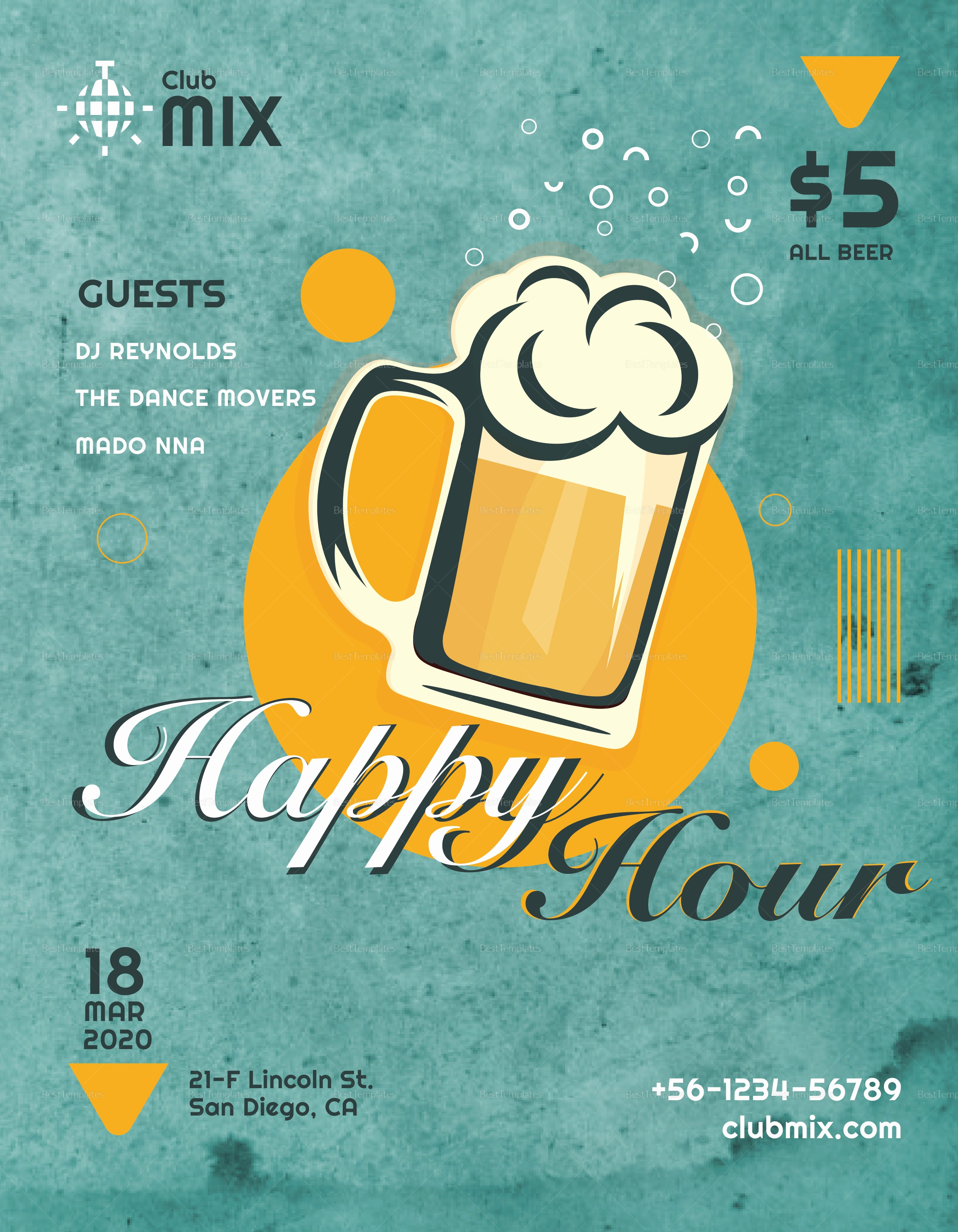 Enter to Win Flyer Template Elegant Vintage Happy Hour Flyer Design Template In Psd Word