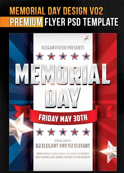 Enter to Win Flyer Template Lovely Memorial Day Design V02 Flyer Psd Template
