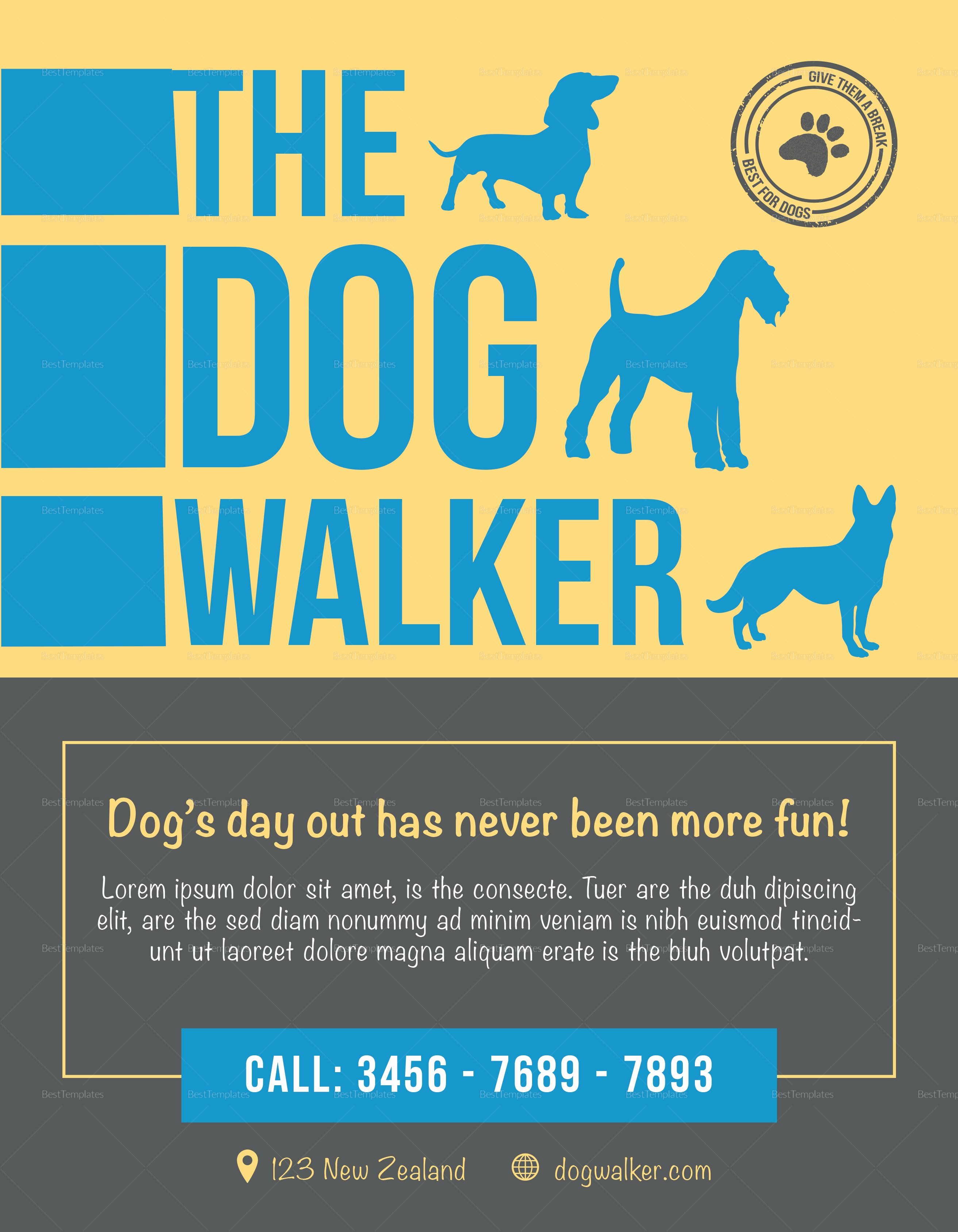 Enter to Win Flyer Template Lovely the Dog Walker Flyer Design Template In Psd Word